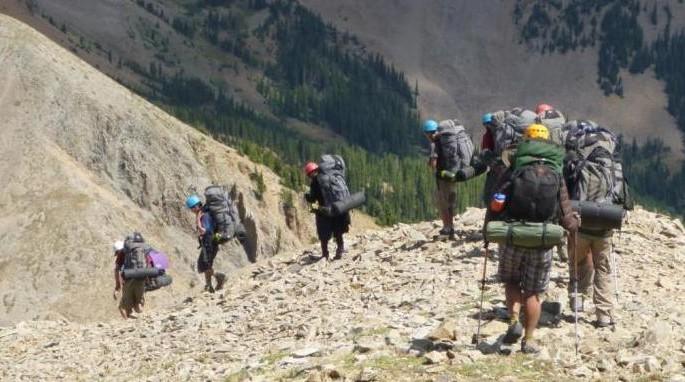 A group of backpackers hike on an Outward Bound course in the La Sal Mountains, UT (M. O'Shea/KSU)
