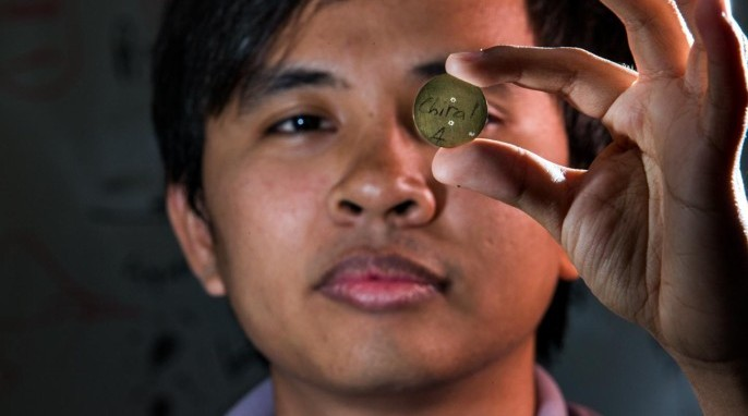 Brass mask used to create spiral laser beam (Stuart Hay, ANU)