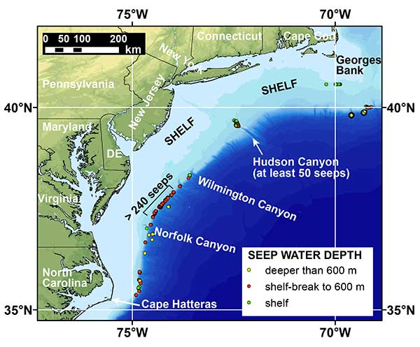 Map of the northern US Atlantic margin showing the locations of recently discovered methane seeps mapped by researchers from Mississippi State University, the US Geological Survey, and other partners.
