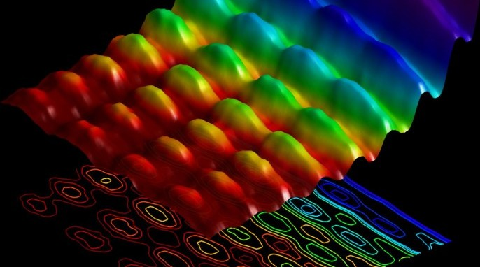 Energy-space photo of light confined on a nanowire, simultaneously shows both spatial interference and energy quantization. (Fabrizio Carbone/EPFL)