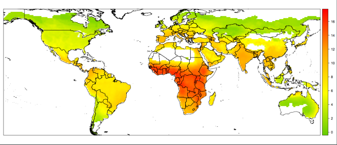 World map showing bat-human disease transmission hotspots courtesy of Brierley et al.