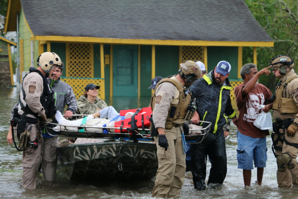 A CBP Air and Marine Operations aircrew from Miami helps evacuate people trapped by flooding caused by Hurricane Harvey in Houston, Texas. August 30, 2017