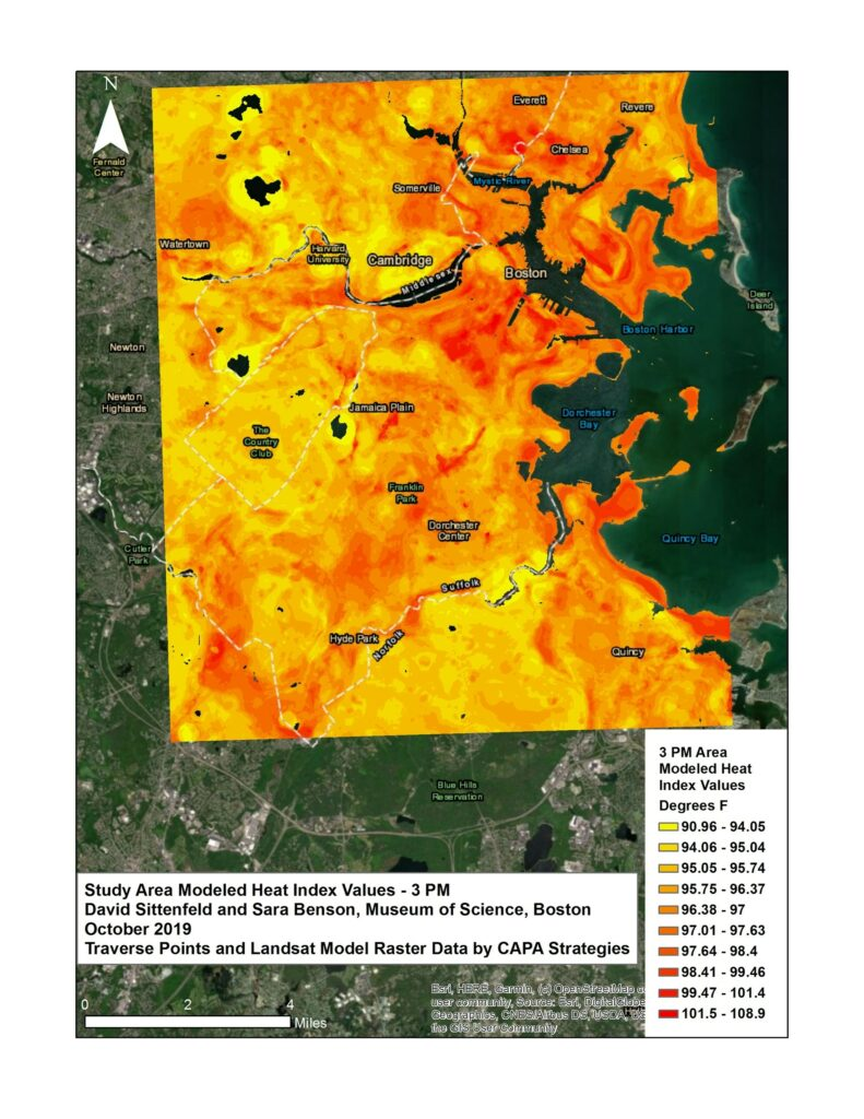 Figure Four: This map shows the real-feel heat index model for the Boston area. This map includes heat and humidity values. The highest predicted heat-index value using this method across the urban study area was 108.6⁰F.  This is 17.7 degrees warmer than the minimum modeled temperatures, demonstrating the tremendous variation in what people experience during these kinds of heat wave events.