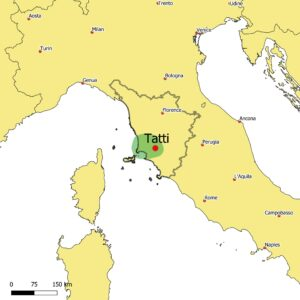 A map of Central Italy showing the area of the Tuscan Metalliferous Hills and the location of Tatti, the home base for our participatory lithology project.